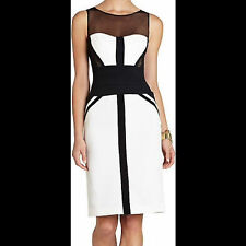 BCBG Maxazria Reina Black / Ivory Illusion Fitted Sheath Cocktail Dress Size 6