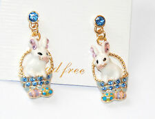 Easter Bunny in Easter Basket Dangling Post Earrings / Blue Crystals w Gold-tone