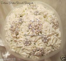 WEDDING FLOWERS WEDDING BOUQUET BRIDES BOUQUET VINTAGE BROOCH PEARLS DIAMANTES
