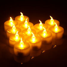 12x Warm White LED Tea Light Battery Operated Candles Flameless Wedding Party LL
