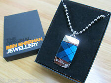 MENS BEN SHERMAN STAINLESS STEEL DOG TAG NECKLACE TARTAN DETAIL NEW AND BOXED
