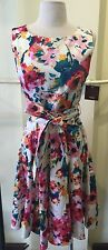 Modcloth Ixia Tie-Dye Blurred Floral Print Tie-Front Dress