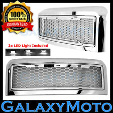 08-10 Ford Super Duty Raptor Chrome Front Hood Mesh Grille+Shell+White 3x LED