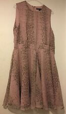 French Connection Lilac Snake Print Skater Style Dress Size UK 16