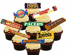 Retro Sweets 70s 80s Edible Cupcake toppers  - Stand-up Fairy Cake Decorations,