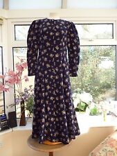 FABULOUS VINTAGE *LAURA ASHLEY* NAVY BLUE FLORAL VICTORIAN LOOK CORD DRESS Sz 10