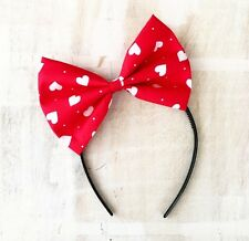 Red with white love heart large bow headband Valentine's Pin up girl