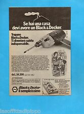 TOP973-PUBBLICITA'/ADVERTISING-1973- BLACK & DECKER - TRAPANO