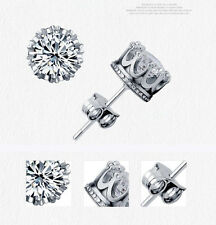 925 Stamp Silver Plated 6MM 0.75ct Round CZ Crystal Crown Stud Earrings