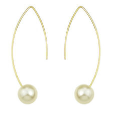 Fashion Costume Jewellery Gold White Pearl Bridal Drop Dangle Earrings E1080
