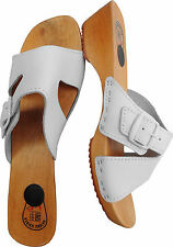 HOLZ (e) CLOGS  Pantolette Gr.40 Echt LEDER, Weiss (Made in Poland 23-3.4-81)