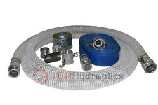 "1-1/2"" Flex Water Suction Hose Trash Pump Honda Complete Kit w/25' Blue Disc"