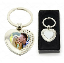Personalised Rhinestone Heart keyring Metal Custom Photo Printed with Gift box