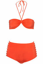 EX -TOPSHOP RETRO BIKINI SET HIGH WAISTED CAGED RED BANDEAU SIZE UK 10 BNWOT