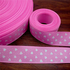 NEW 5 Yards 1'' 25mm Pink Heart-shaped Printed Grosgrain Ribbon Hair Bow DIY D43