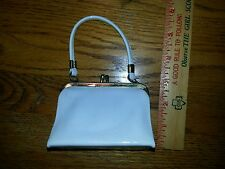 Childs mid century white patent leather toy purse miniature JUST LIKE MOM'S