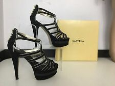 Carvela Women's High Heels Shoes Size 38 5 Black Gold Patent leather Velvet Vgc