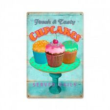 Delicious Cupcakes Fresh Tasty USA Cupcake Werbung Retro Sign Blechschild Schild