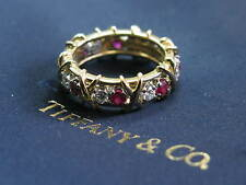 Tiffany & Co Jean Schlumberger 16 Stone Ruby Diamond Ring Size 6