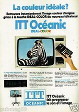 Publicité advertising 1977 Télévision Téléviseur Ideal Color ITT Océanic