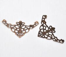 50 New Copper Tone Filigree Triangle Wraps Connectors