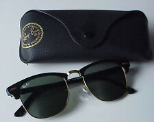 RAY BAN CLUBMASTER RB3016 W0365 51-21-145 3N BLACK GOLD SUNGLASSES GREEN LENS