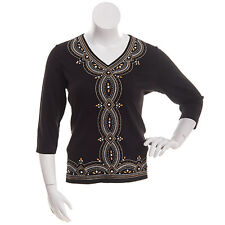 Alfred Dunner shirt size Medium M  Black W/Gold and Silver Stitching and bead