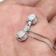 925 Sterling Silver Dumbbells Gym Barbell Pendant Crystal Women Necklace