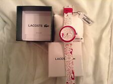 LACOSTE GOA UNISEX MODEL 2020065 PINK AND WHITE SILICON WATCH BNIBWT