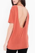 New~American Apparel Brushed Jersey Open Back Tunic Tee Desert Flower Coral L