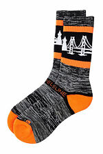 STRIDELINE THE BAY SOCKS ORANGE BLACK ON HEATHER MENS ONE SIZE NEW WITH TAGS
