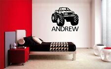 BOYS NAME & MONSTER TRUCK DECAL WALL VINYL DECOR STICKER ROOM SPORTS