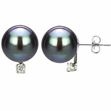14k White Gold .06ctw Diamond 8-9mm Black South Sea Tahitian Pearl Stud Earrings