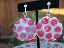 Gorgeous Silvertone, White & Red Strawberries on Shell Dangling Clip On Earrings