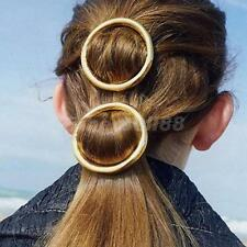 Girl Punk Circle Hairpin Gold Alloy Simple Round Hair Clip Barrette Headwear