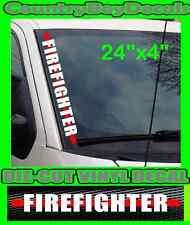 FIREFIGHTER Vertical Windshield VINYL DECAL Sticker Red Line TRUCK Car FIRE