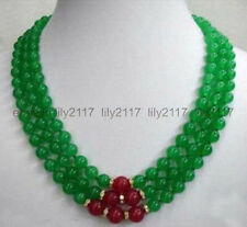 fashion 8mm Green Emerald & Red Ruby 3 Rows Necklace 17-19 ""