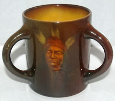 ANTIQUE ROOKWOOD LOVING CUP MUG INDIAN NATIVE AMERICAN PORTRAIT O. GENEVA REED