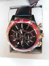 Western Moments Black Dial Red Bezel Watch with Black Leather Strap RRP £399!
