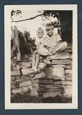 BOY & GIRL SITS ON WALL SADDLE SHOES OLD/VINTAGE PHOTO-SNAPSHOT Y2169