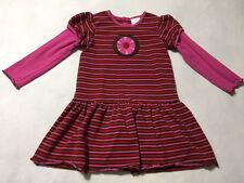 Hanna Andersson 120 6 7 Pink Red Brown Stripe Flower Wheel Dress