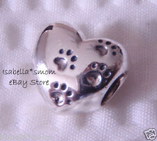 MY SWEET PET Authentic PANDORA Sterling SILVER Paws HEART Charm/Bead 791262