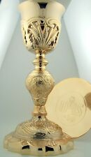 Gothic Ornate Coronation Church IHS Chalice Goblet Cup & Gold Paten Gift Set
