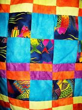 "New Handmade Colorful Quilt 46"" x 40"" Fish Theme"