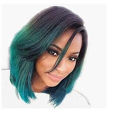 Women's Short Black to Green Mixed Ombre Color Wigs Synthetic Hair Wigs+Cap