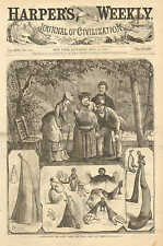 Looking Into The Lawn Globe & What They Saw, Humor, Vintage, 1873 Antique Print