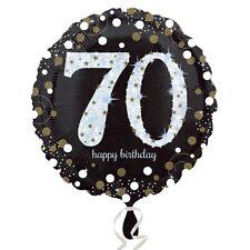 Negro y Oro celebración 70th Cumpleaño FOIL globo de helio