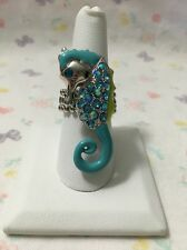 SEAHORSE Enamel Rhinestone RING Stretch Band Blue Green Silver