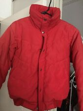 Vntg 80s The North Face Puffy Down Jacket Size Medium Red Button Up USA Made