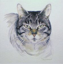 Art Greeting Card Watercolor Picture Painting Cat Animals Tabby Paws Pets Kitty